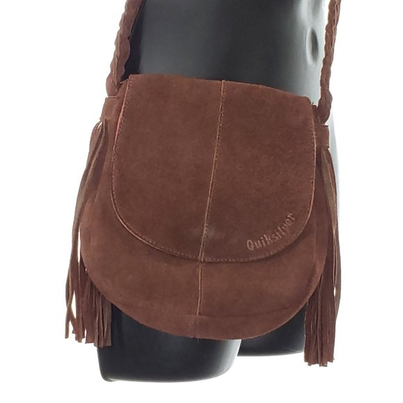 QUIKSILVER Mini Crossbody Bag Suede Leather Brown